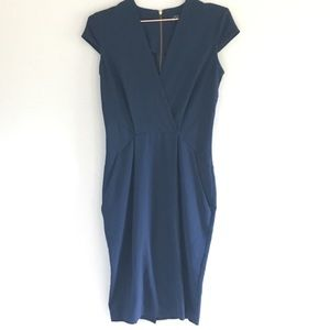 Closet// navy cap- sleeve fitted dress, size 8